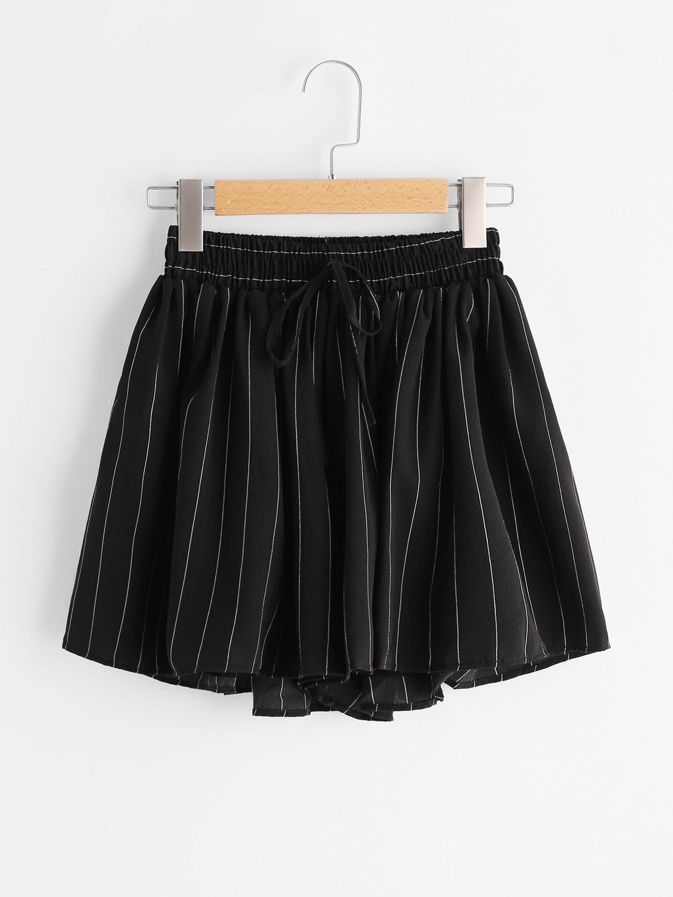 Striped Drawstring Shirred Waist Chiffon Skort