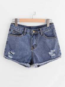 Ripped Cuffed Denim Shorts