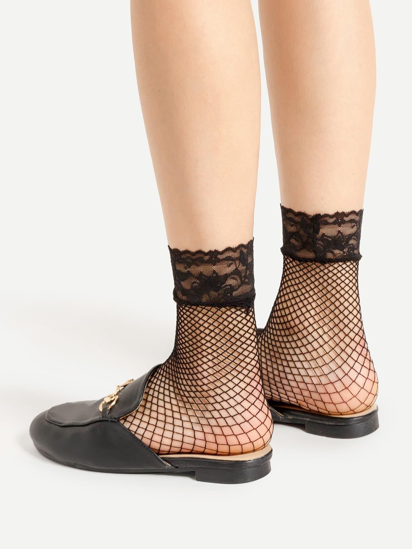 Фото Lace Trim Fishnet Ankle Socks. Купить с доставкой