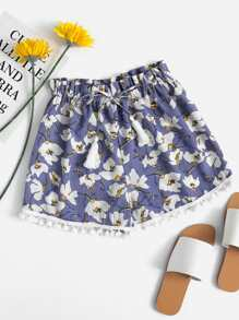 Floral Print Random Drawstring Pompom Pleated Shorts