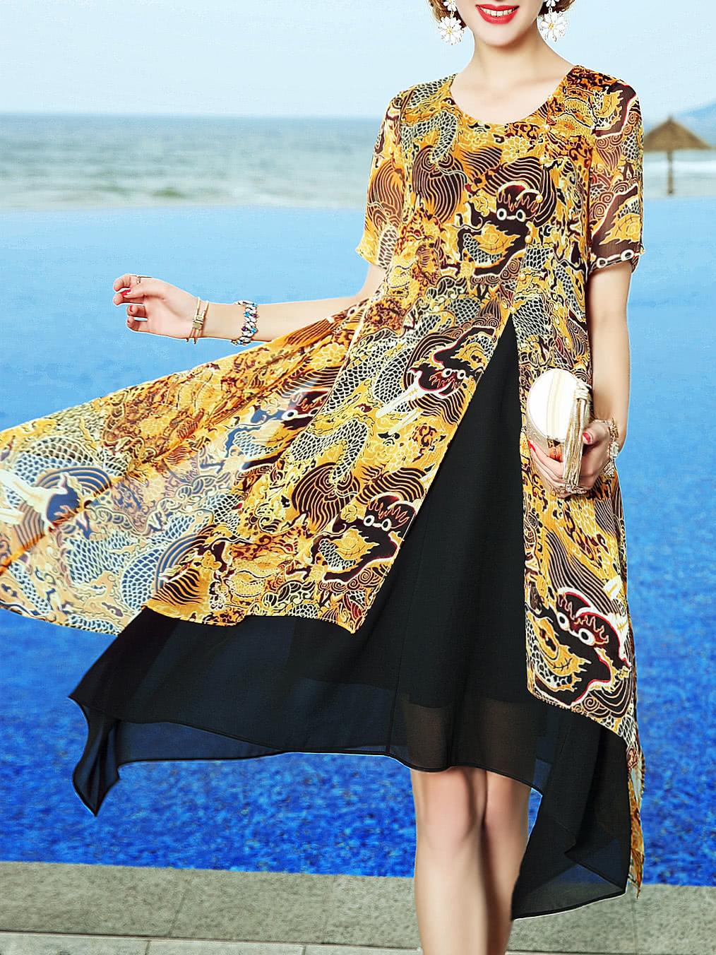 Фото Tribal Print Split Asymmetric Dress. Купить с доставкой