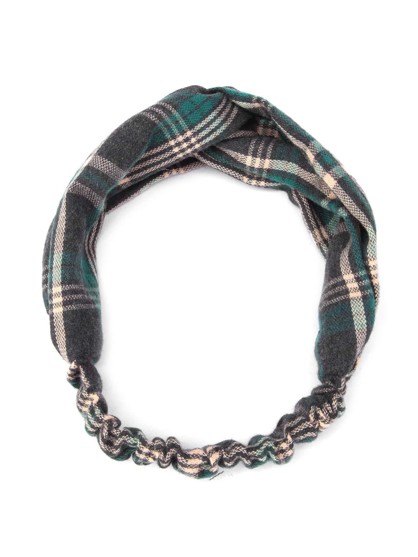 Фото Plaid Print Twist Headband. Купить с доставкой