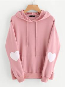 Drop Shoulder Heart Print Sleeve Pocket Front Hoodie
