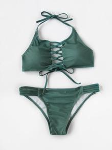 Bikini Set mit Kreuzgurte, Riemendesign und Neckholder