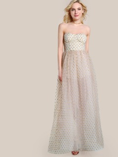 Strapless Polka Dot Gown Dress CREAM