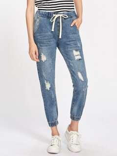 Rips Detail Elastic Hem Jeans