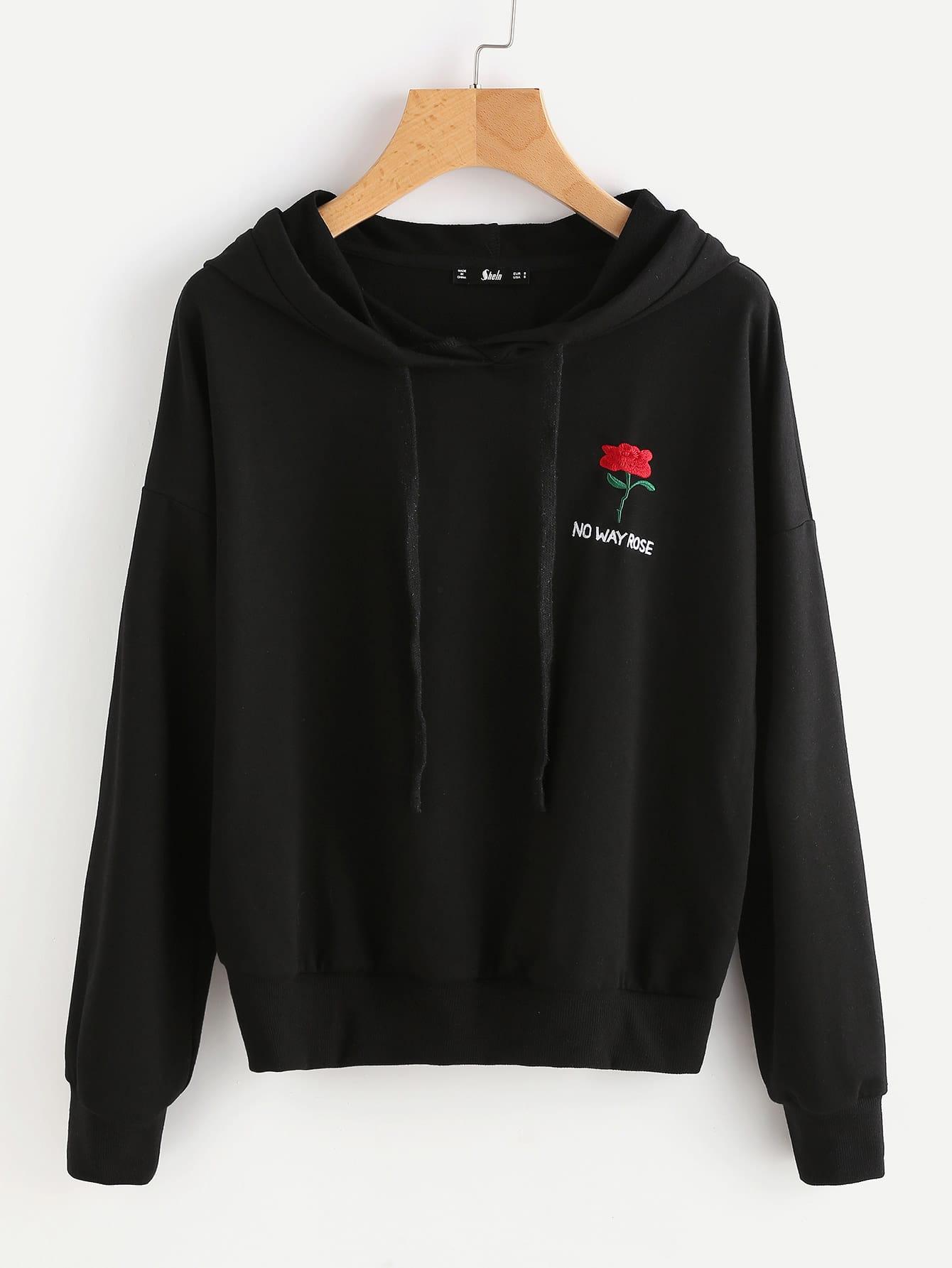 Drop shoulder flower embroidered hoodie makemechic