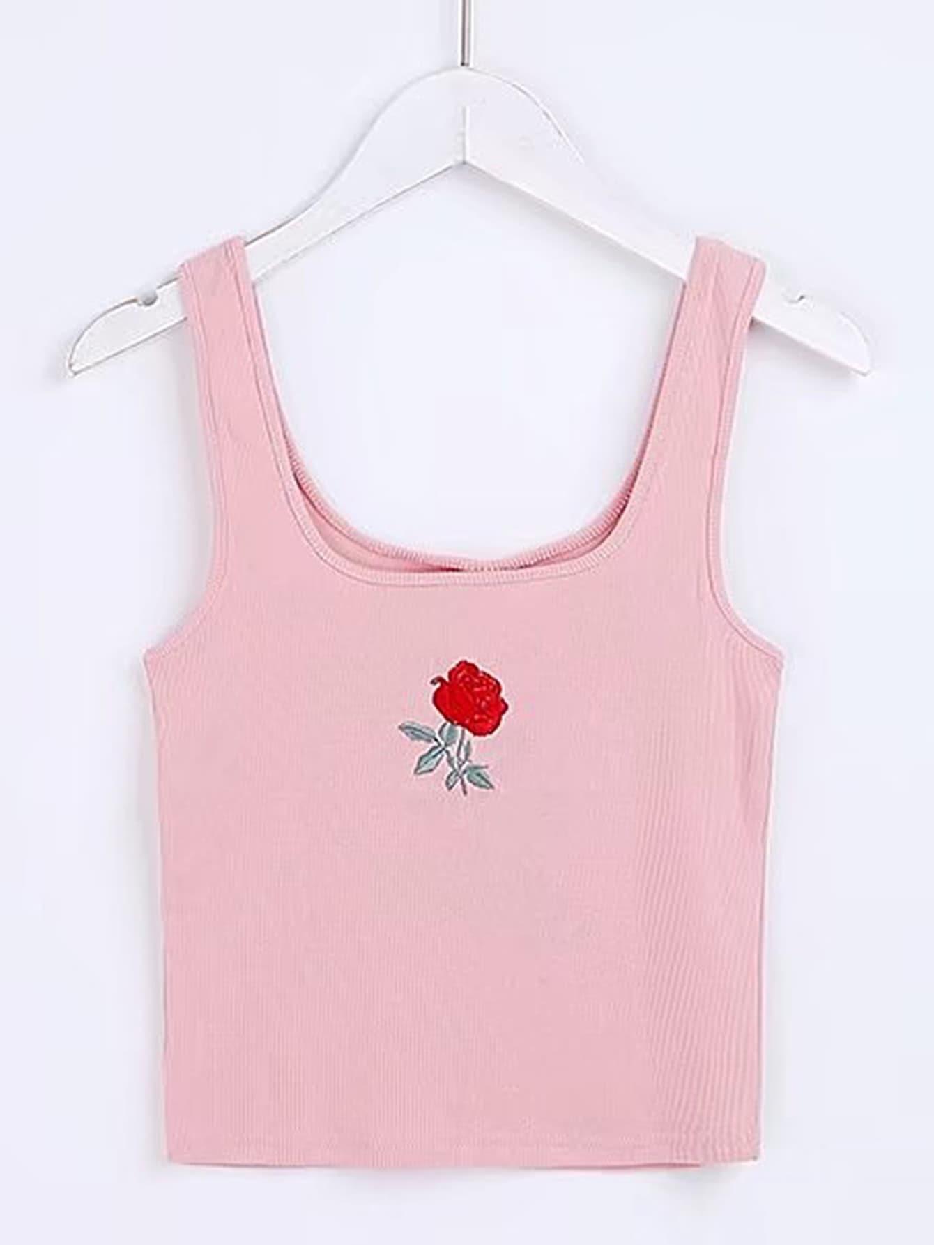 Фото Rose Embroidery Tank Top. Купить с доставкой