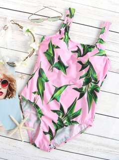 Leaf Print One-Piece Swimwear