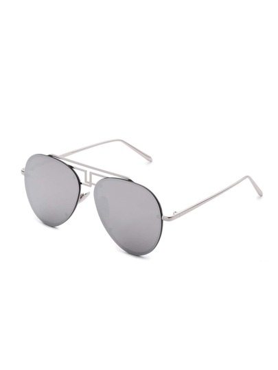 Asymmetrische Top Bar Rimless Aviator Sonnenbrille