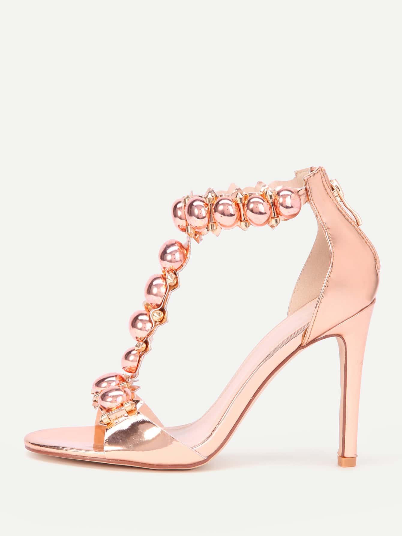 Metallic T Strap High Heels shoes17070307