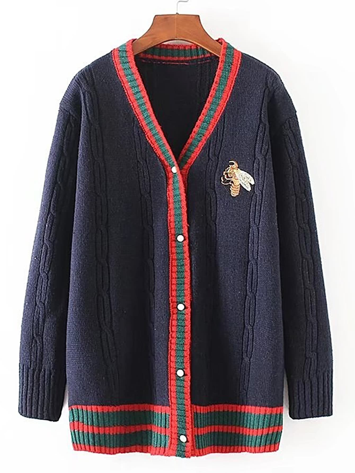 Contrast Binding Bee Embroidery Sweater Coat sweater170719201