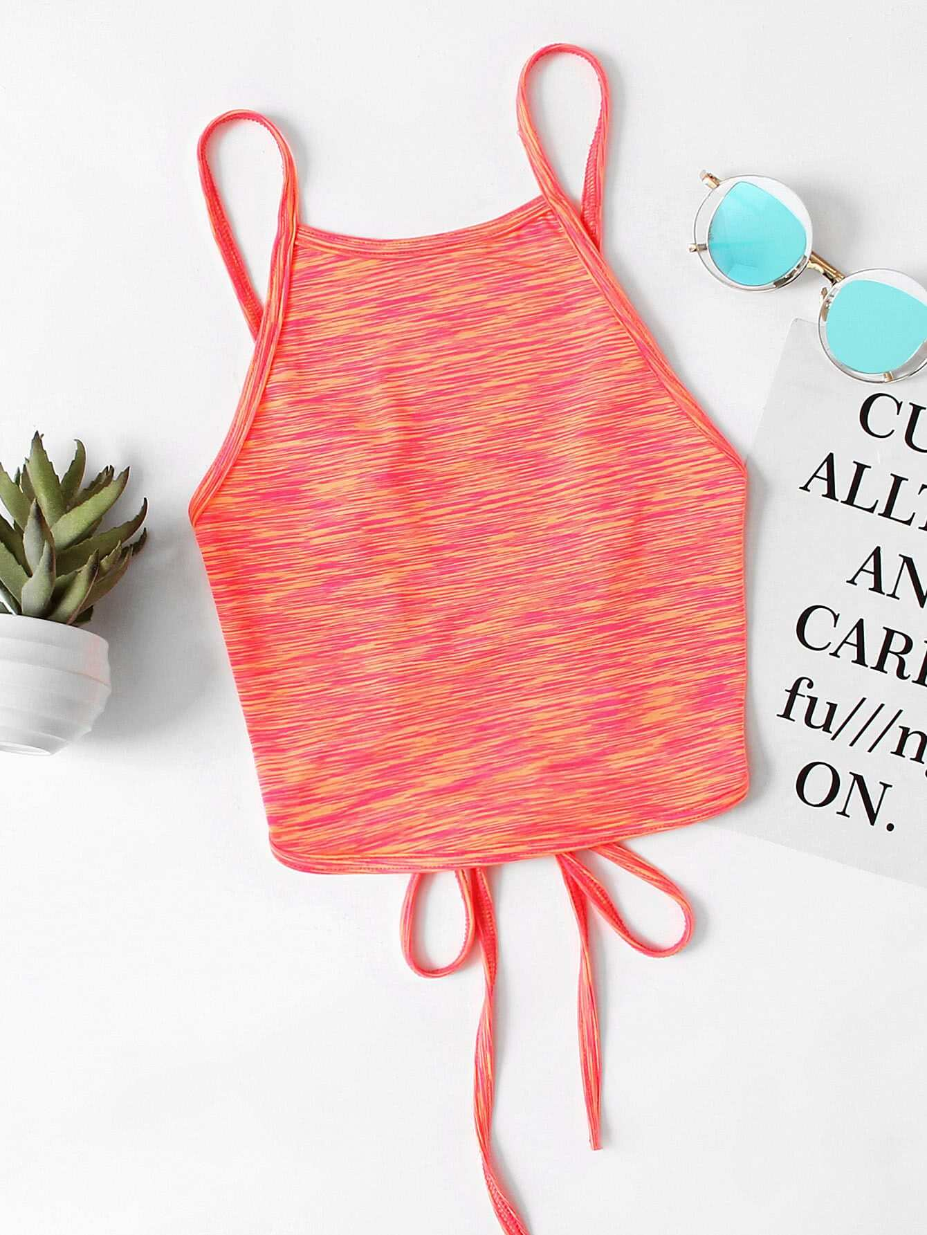 Lace Up Open Back Cami Top RVES170731001