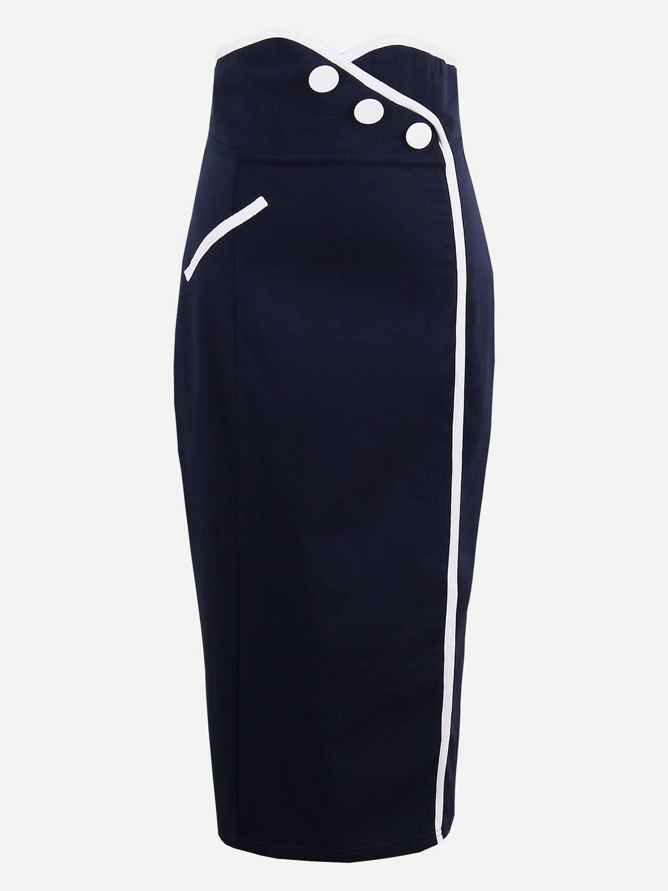 Contrast Trim Zipper Back Sheath Skirt