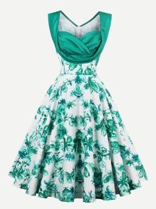 Sweetheart Draped Neck Florals Swing Dress