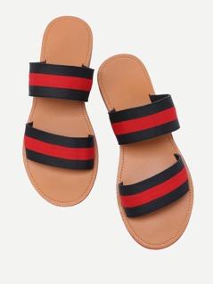 Color Block Elastic Strappy Flat Sandals