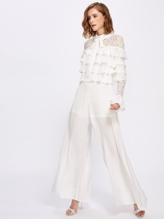 Lace Shoulder And Sleeve Layered Frill Detail Palazzo Jumpsuit