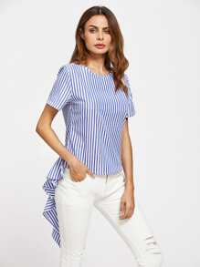 Contrast Striped Exaggerated Frill Blouse