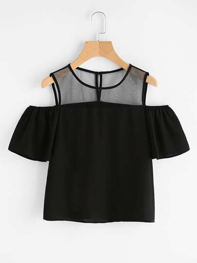 Open Shoulder Mesh Panel Top