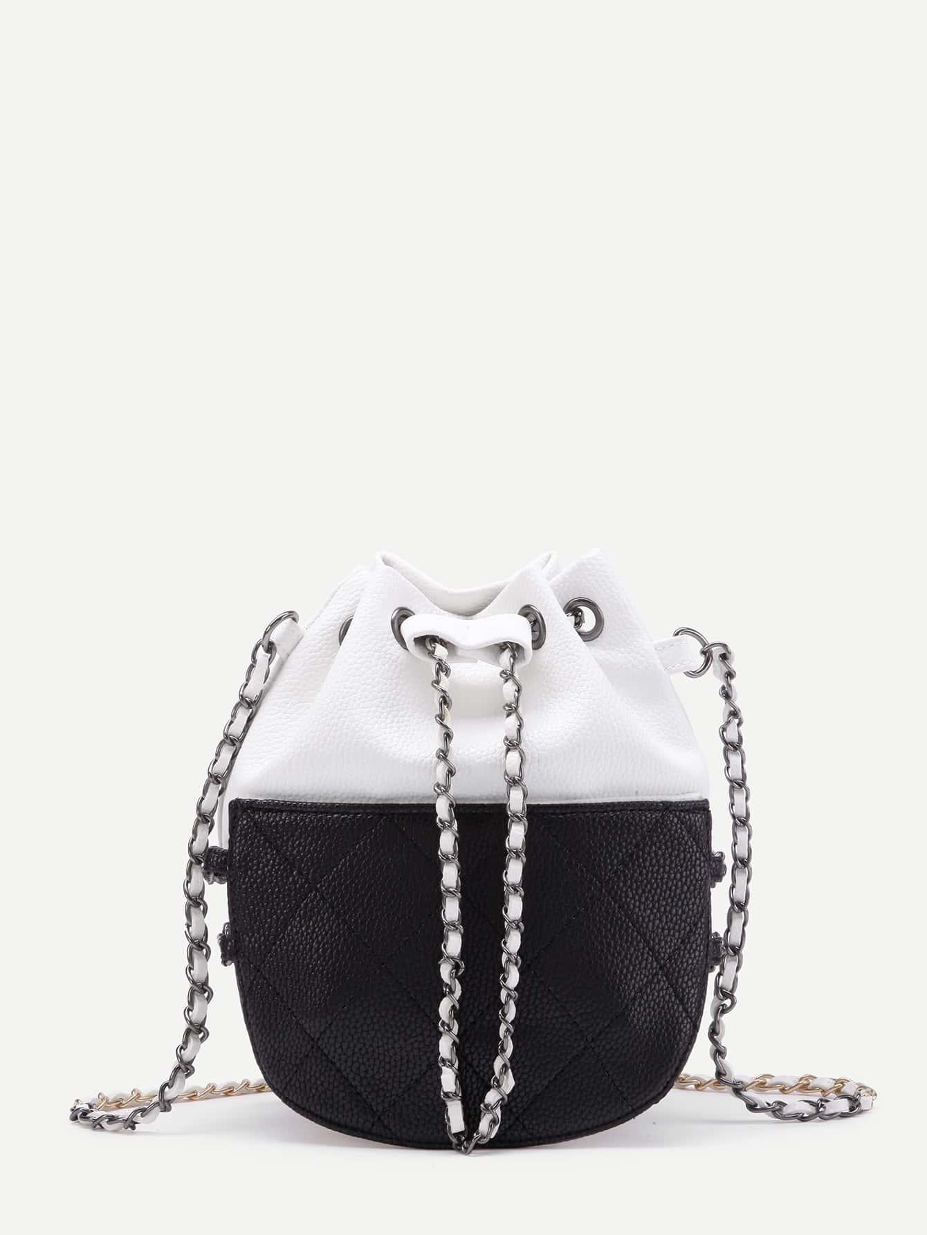 Фото Two Tone Quilted Drawstring PU Chain Bag. Купить с доставкой