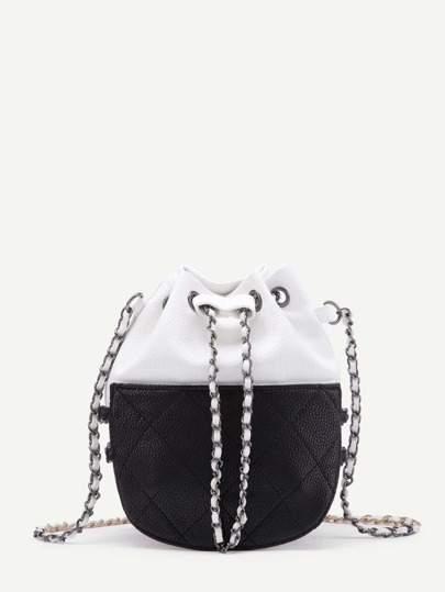 Two Tone Quilted Drawstring PU Chain Bag