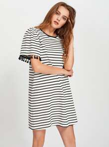 Tassel Trim Striped Boxy Tee Dress