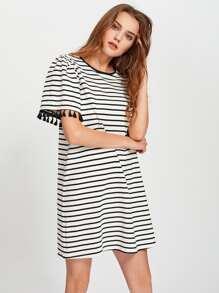 Tassel Trim Striped Boxy Tee Dress