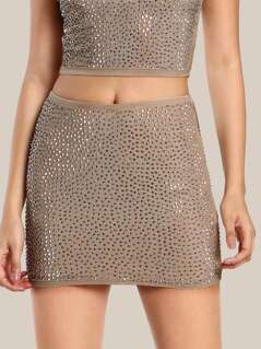 Diamond Embellished High Rise Skirt NUDE SILVER