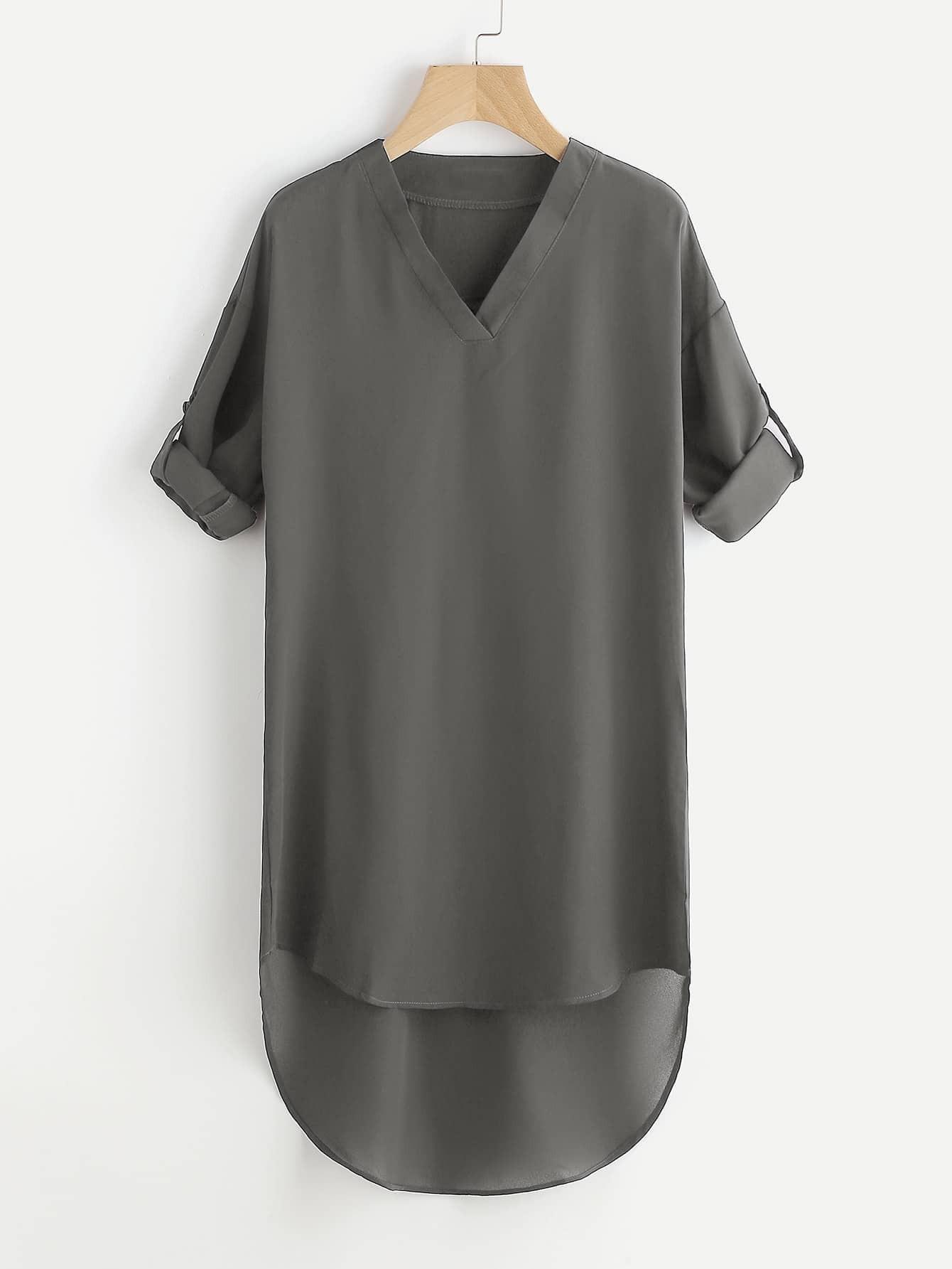 Фото Drop Shoulder Roll Tab Sleeve Dip Hem Dress. Купить с доставкой