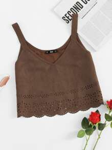 Top camisole con bordo smerlato e cut-out laser