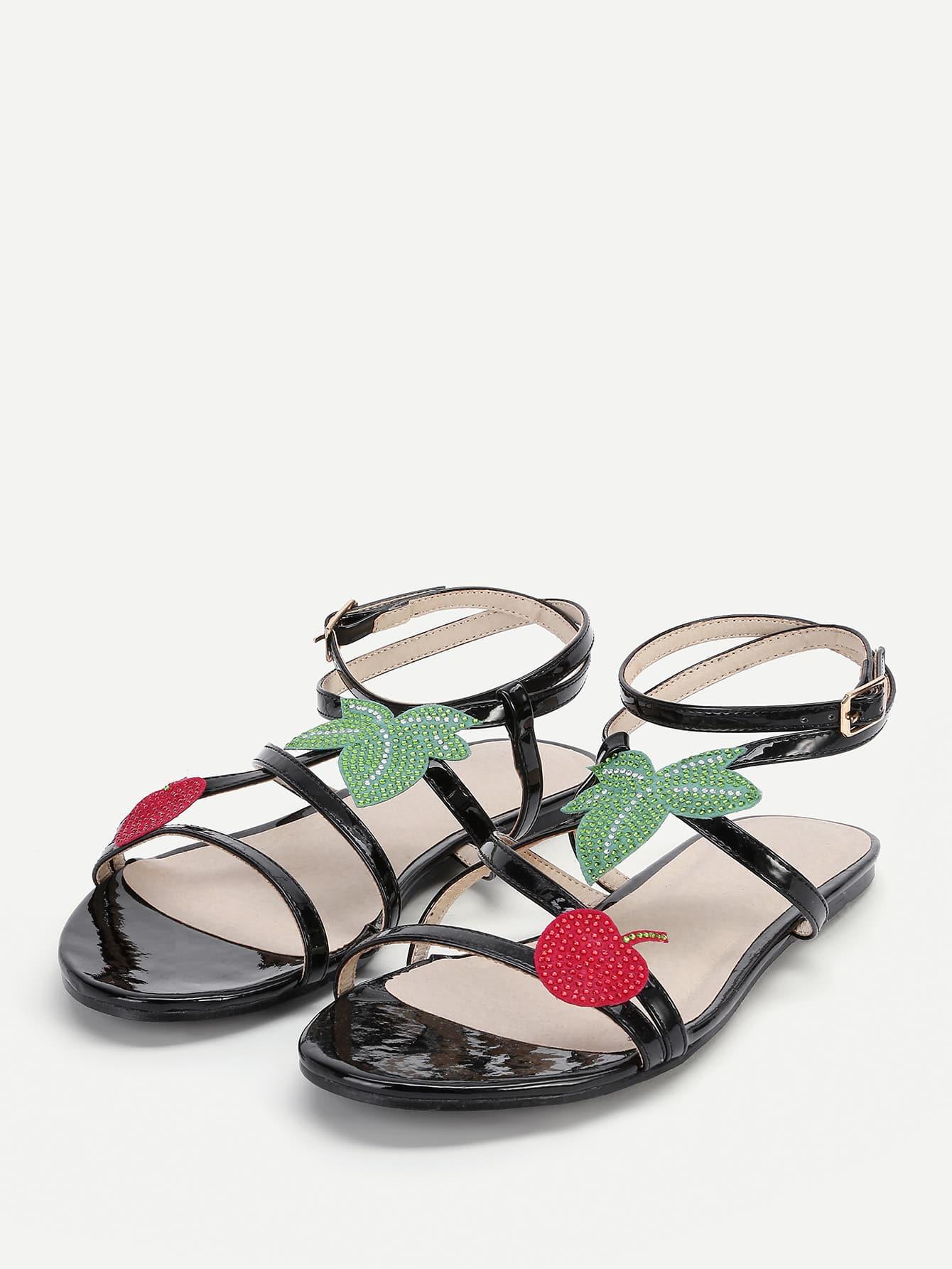 Leaf Embellished Strappy Flat Sandals