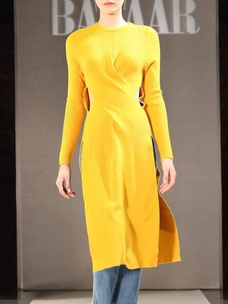 Фото Crew Neck Midriff Split Knit Dress. Купить с доставкой