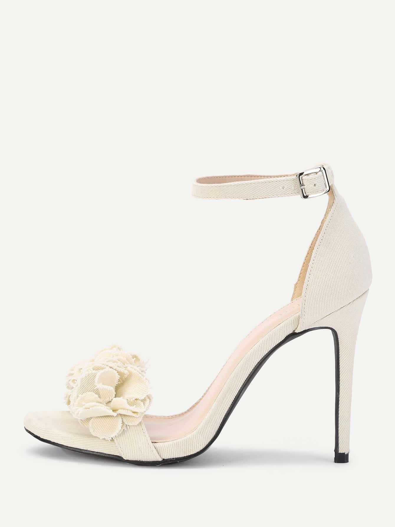Flower Design Ankle Strap Heeled Sandals shoes17072302