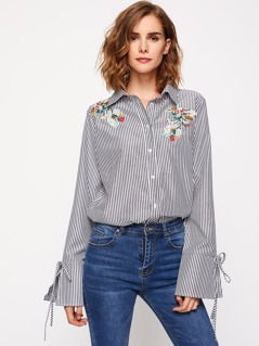 Embroidered Flower Patch Tie Cuff Striped Blouse