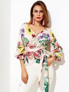 Gathered Sleeve Mixed Print Wrap Top