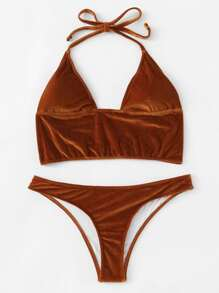 Back Hook Velvet Bikini Set