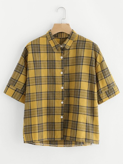 Checked Dip Hem Shirt
