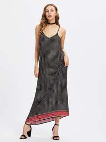 Calico Print Full Length Cami Dress