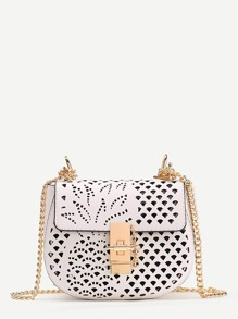 Laser Cut Design PU Crossbody Bag With Chain