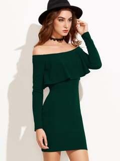 Flounce Bardot Bodycon Dress