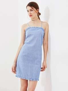 Frill Trim Crisscross Back Pinstripe Cami Dress