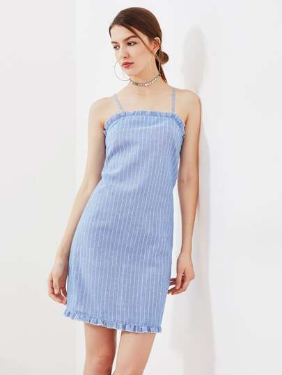 Frill Trim Crisscross Back Pinstripe Cami Dress