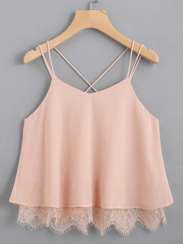 Lace Hem Criss Cross Back Strappy Top, null