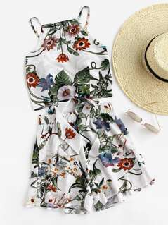 Tie Back Botanical Cami And Shorts Set