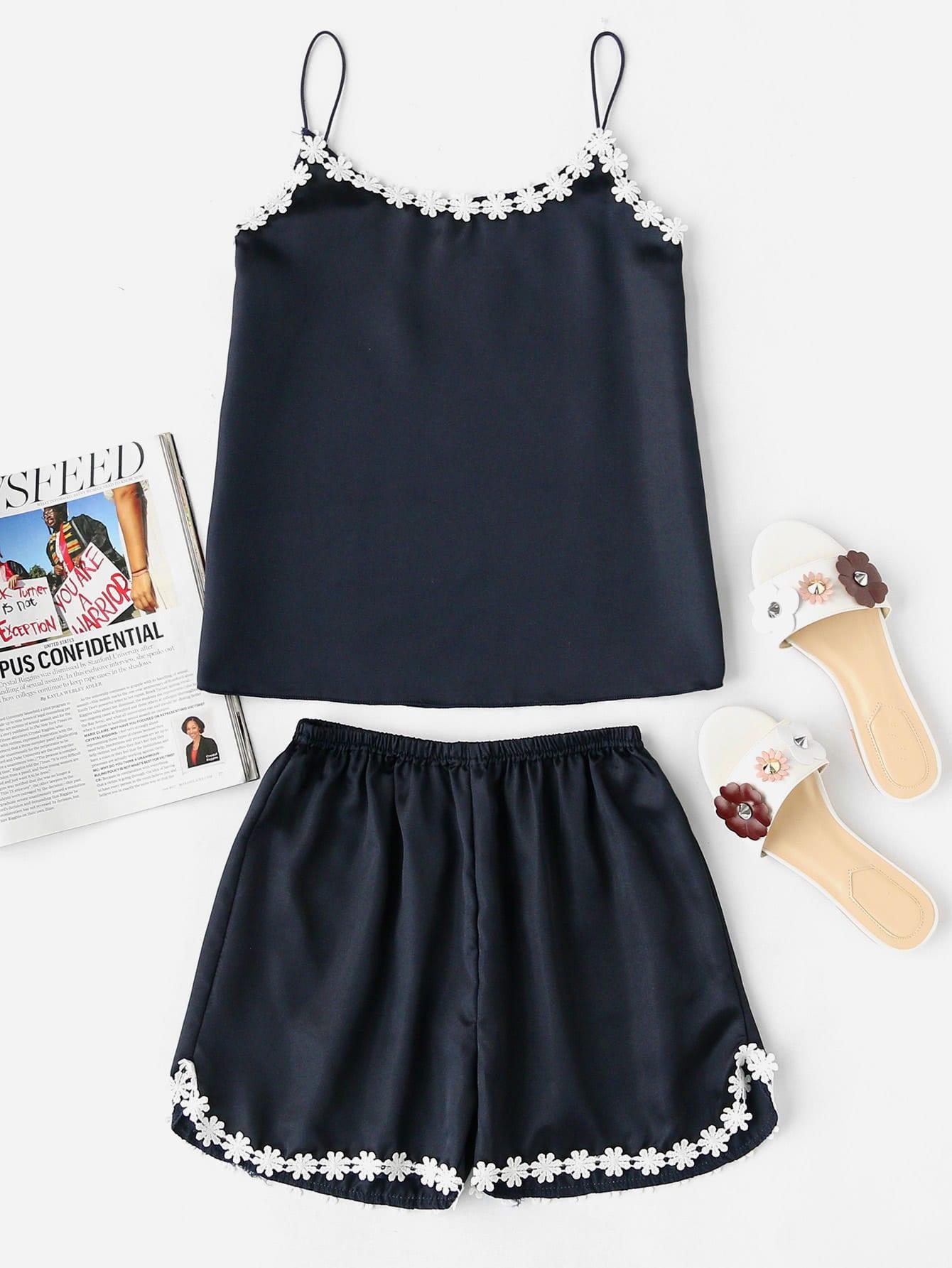 Фото Lace Crochet Trim Pajama Set. Купить с доставкой