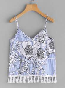 Tassel Trim Floral And Striped Cami Top
