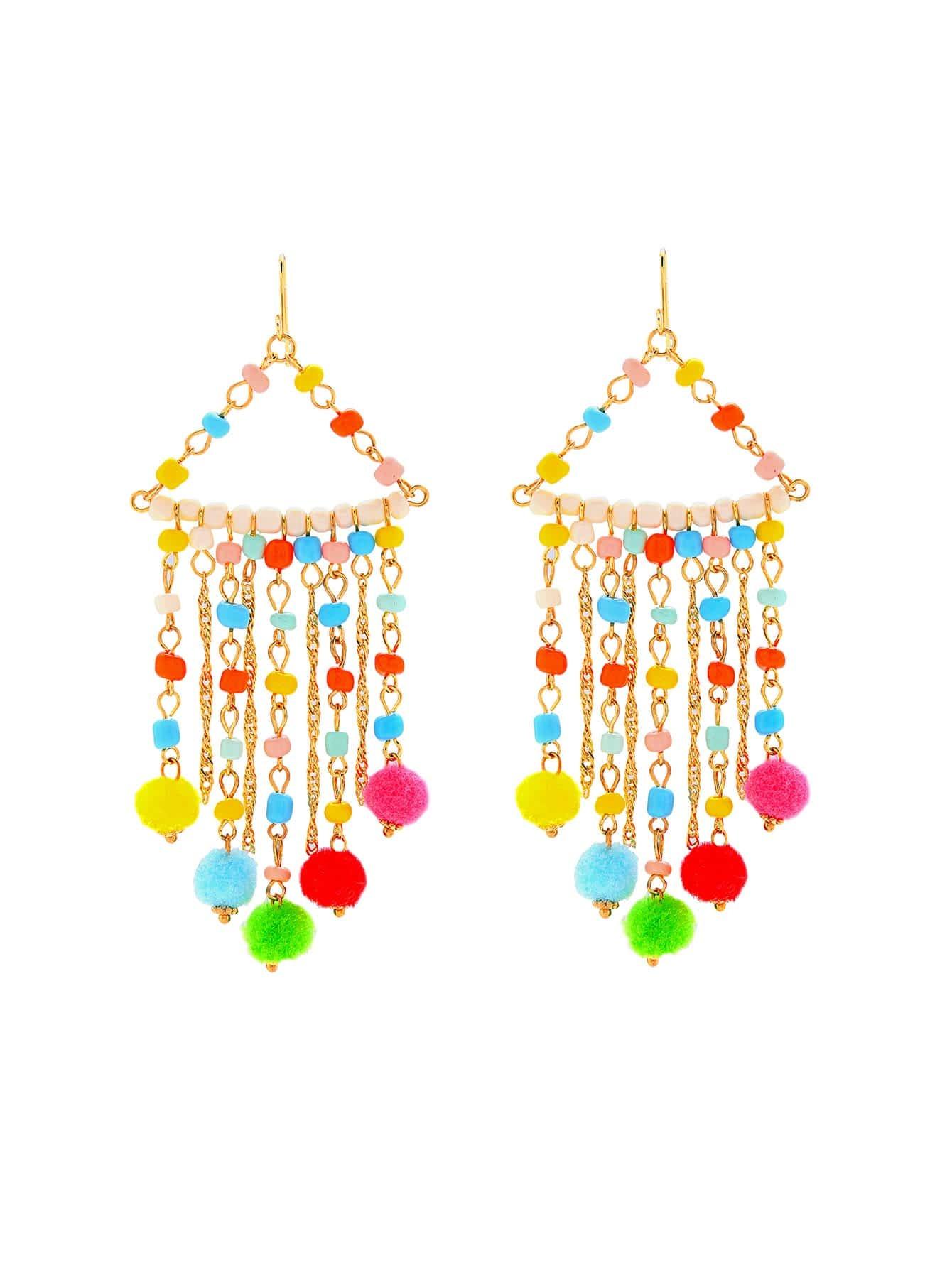 Beaded Drop Earrings With Pom Pom
