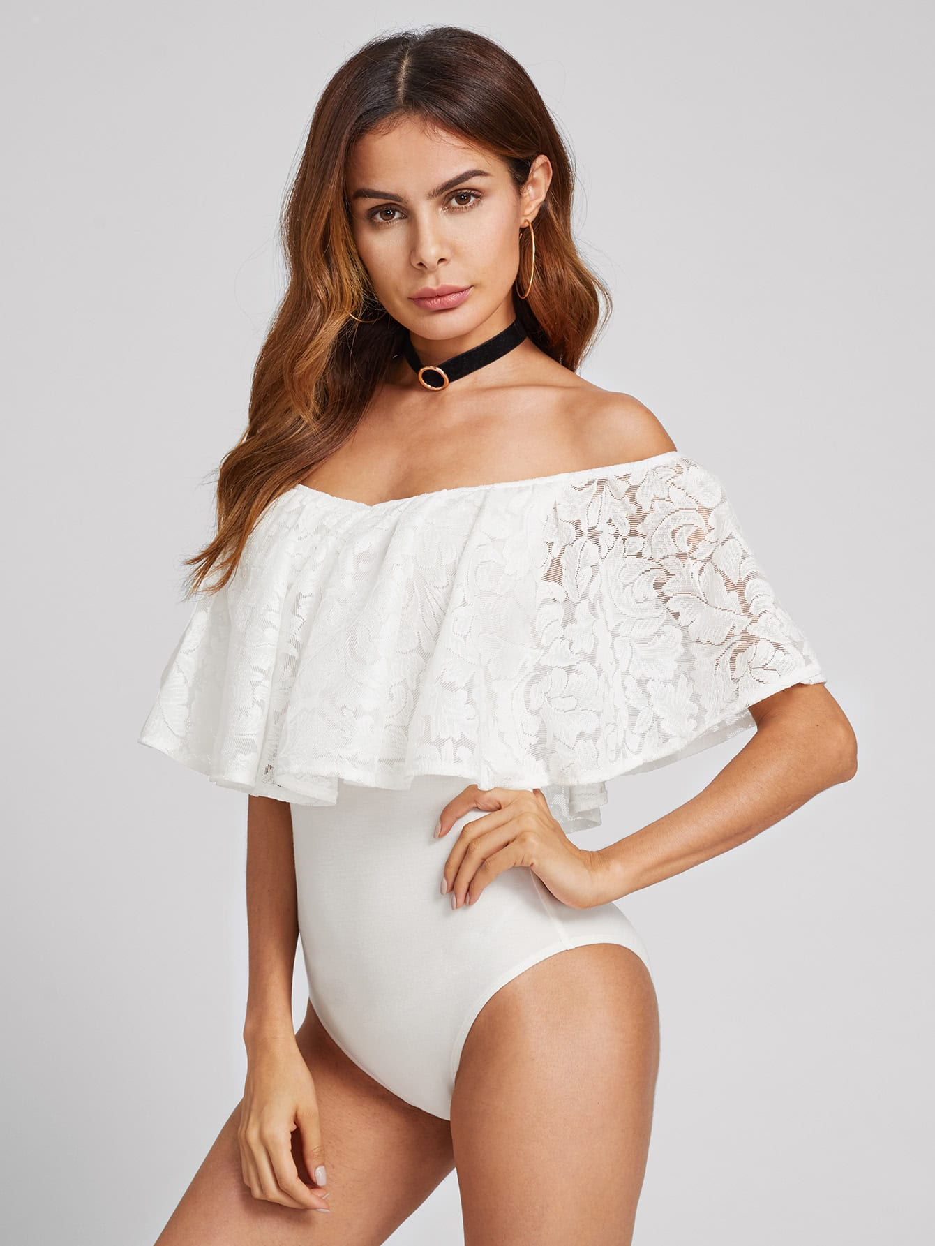 Lace Flounce Trim Bardot Bodysuit pearl beading flounce bardot velvet bodysuit