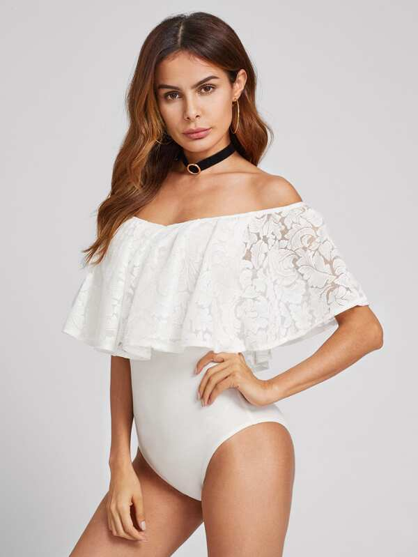Lace Flounce Trim Bardot Bodysuit by Shein