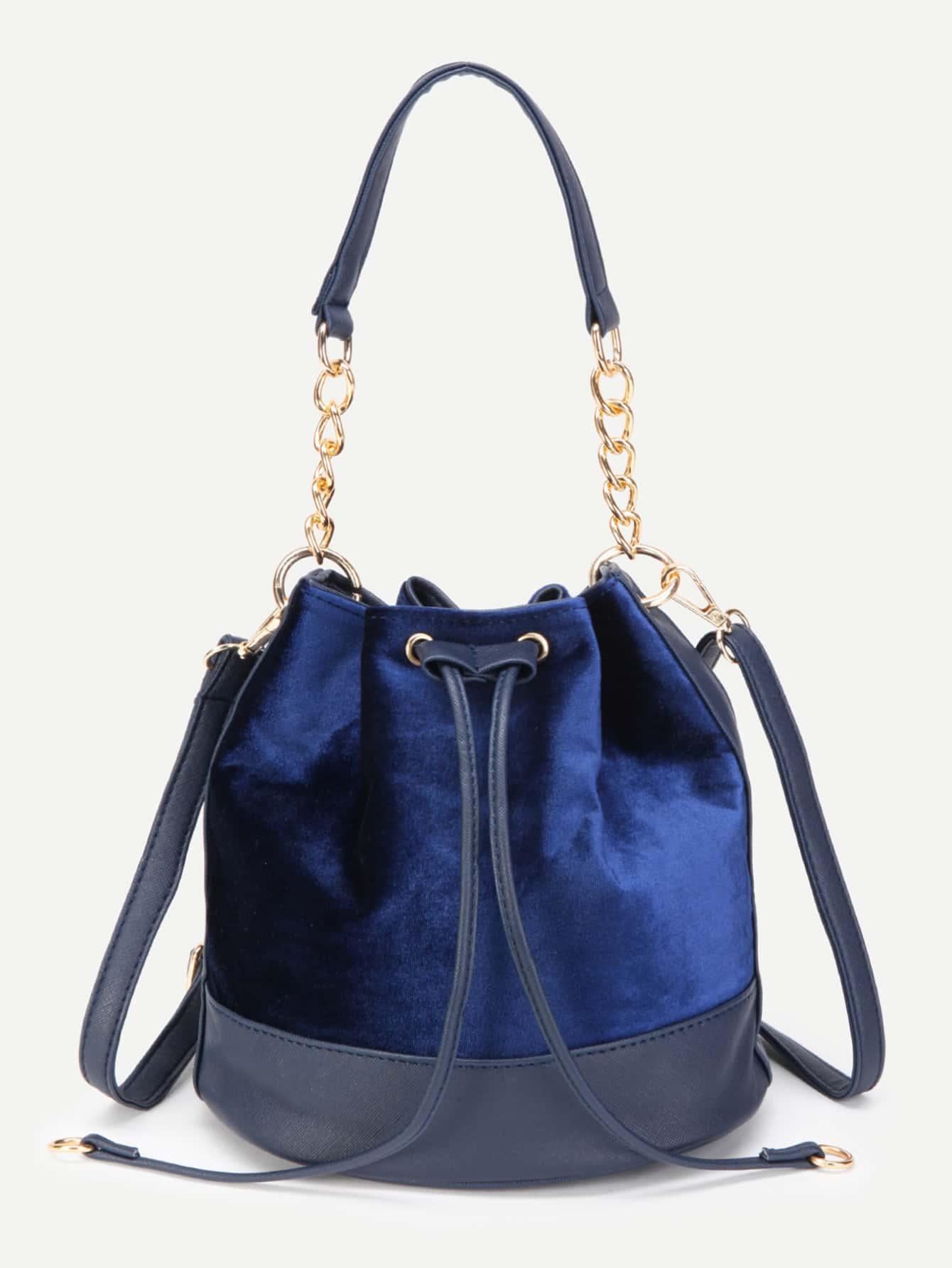 blue pu trim drawstring velvet bag makemechic